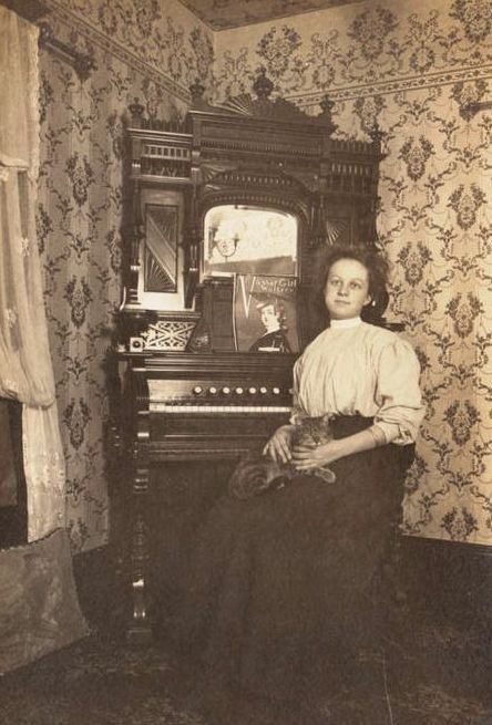 https://flic.kr/p/aPKt6M | woman with reed organ, cat on lap | Victorian times