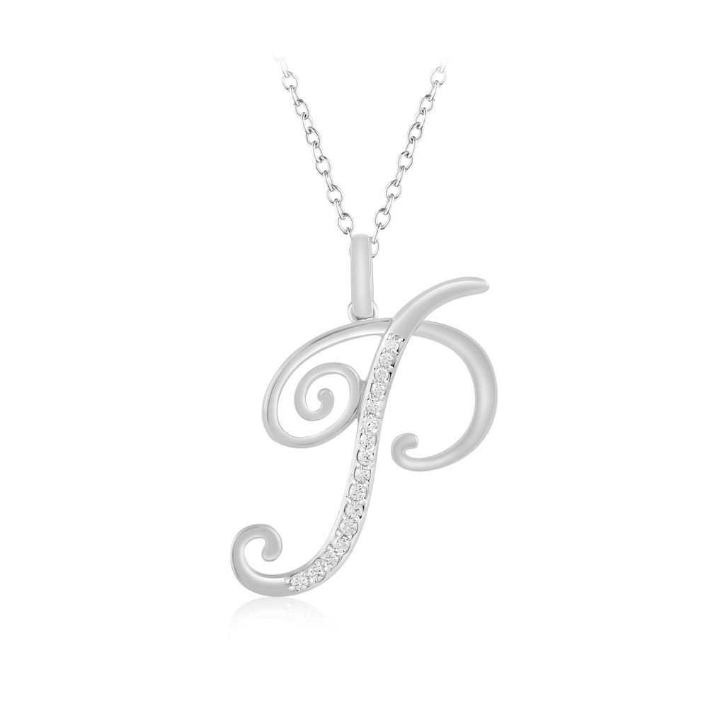 1 8 Ct Diamond Initial Alphabet Letter P Pendant Chain Necklace Sterling  Silver  caratsforyou  Pendant 882b9d83b6b