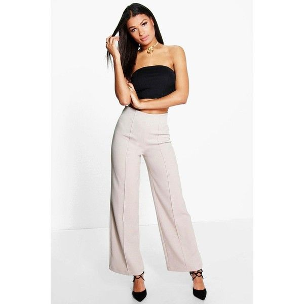 4e8e17b89fbb Wide Leg Trousers · Boohoo Night Isabel High Waisted Pin Tuck Kick Flare  Trousers (580 ZAR) ❤ liked