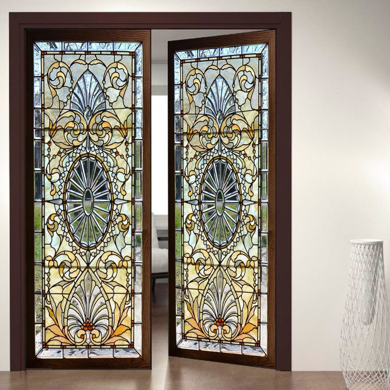 Door Wall Sticker Stained Glass With Bevels Self Adhesive