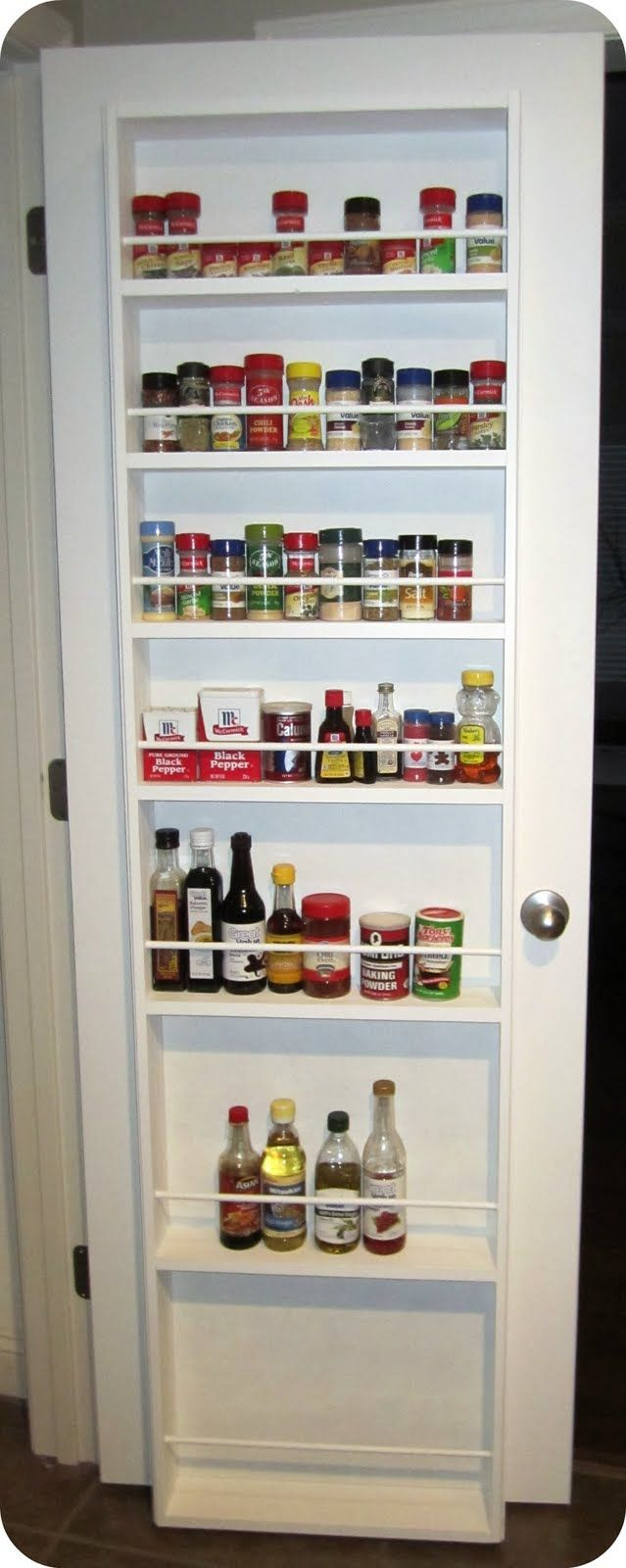 Pantry spice rack on door not just spices but for for Extra kitchen storage