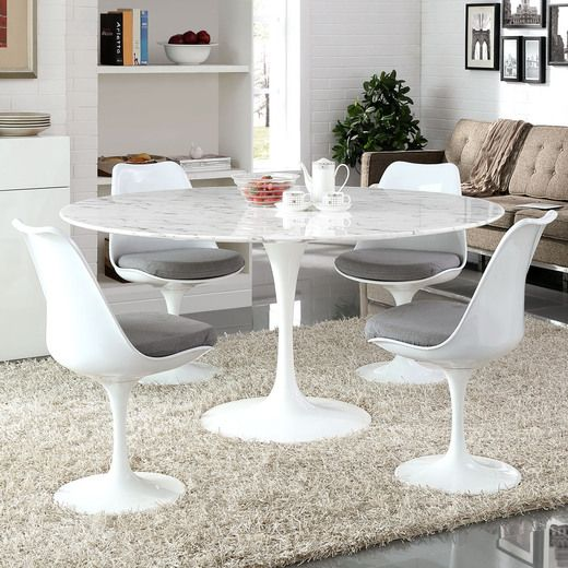 Modway Lippa 60 Artificial Marble Dining Table In White Dining