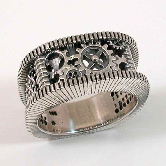 steampunk wedding band - Gear Wedding Ring