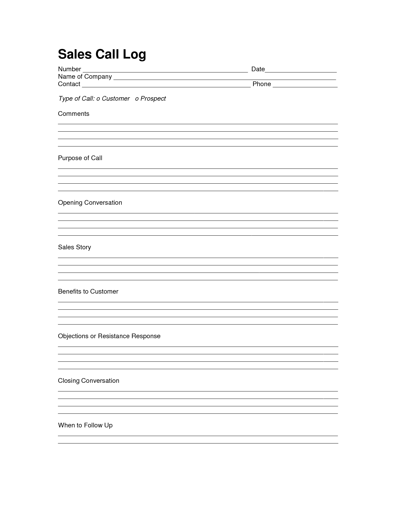 Sales Log Sheet Template Call