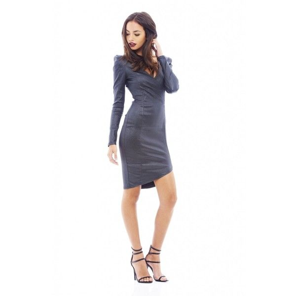 AX Paris V Neck Shoulder Pad Bodycon Dress (820 ZAR) ❤ liked on Polyvore featuring dresses, white bodycon dress, shoulder pad dress, body conscious dress, body con dress y v neck dress