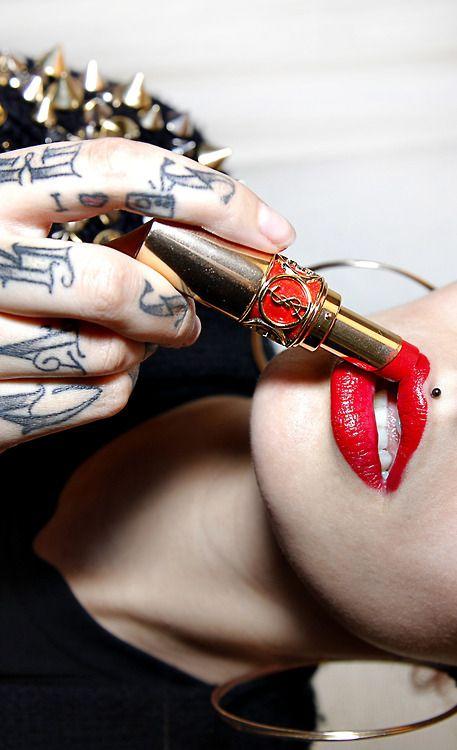Girl's Red Lip Tattoo