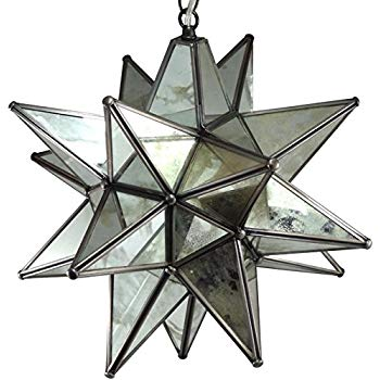 Moravian Star Pendant Light Antique Mirrored Glass 19