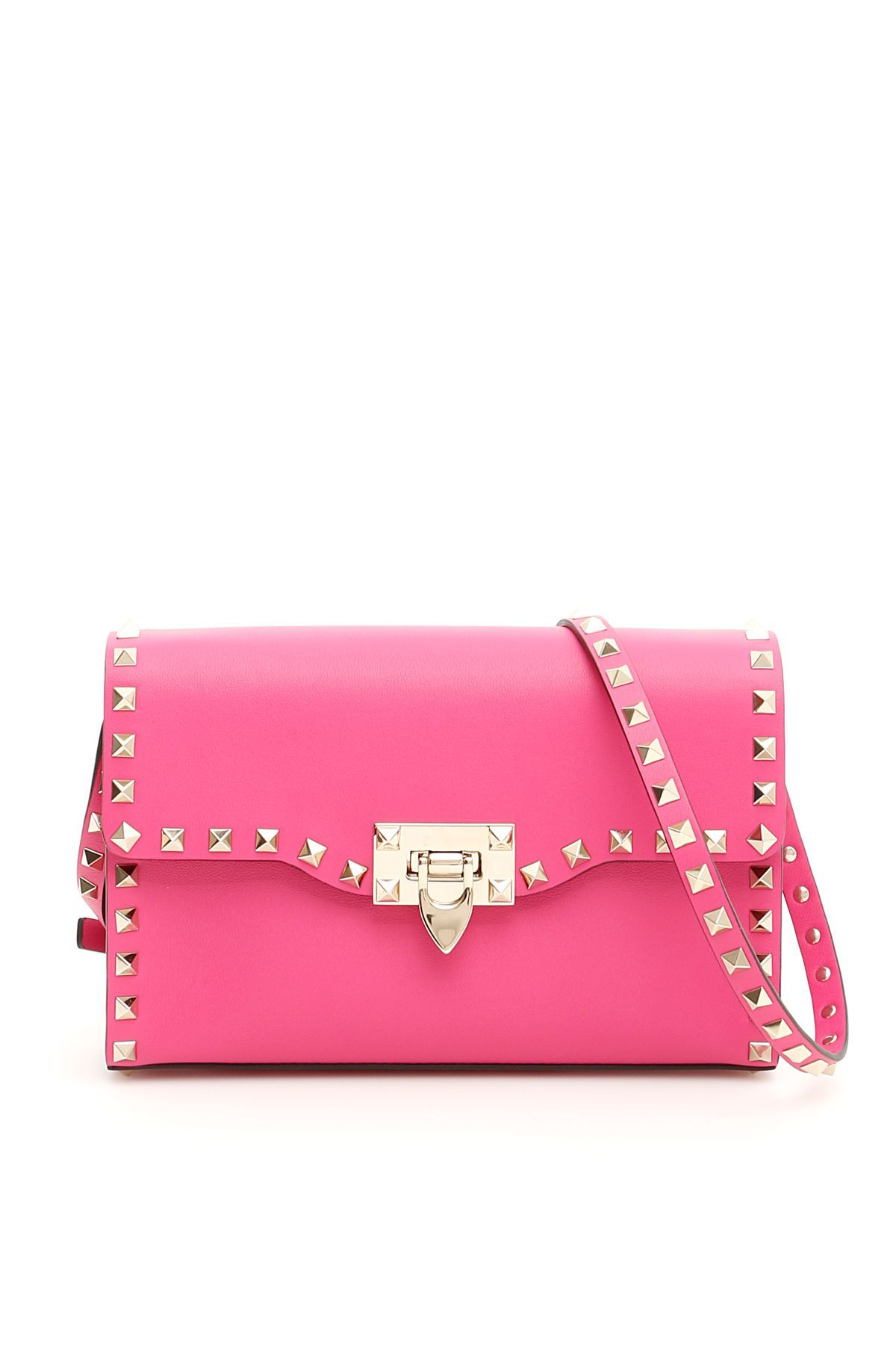 6673724a1 VALENTINO SMALL ROCKSTUD CROSSBODY BAG. #valentino #bags #shoulder bags  #leather #crossbody #lining