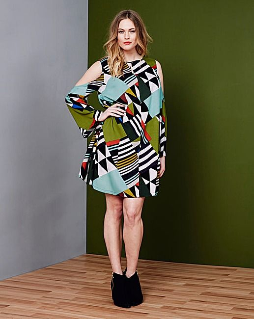 Simply Be Geo Print Cold Shoulder Dress | Simply Be