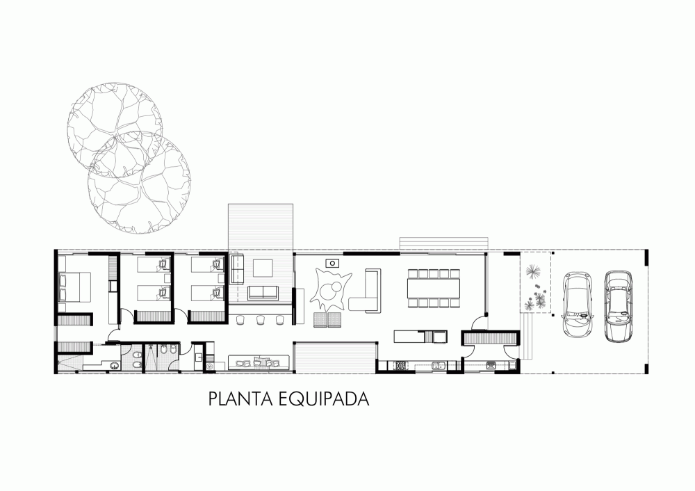 Gallery Of Linear House Roberto Benito 16 Modern House Plans House Floor Plans Villa Plan