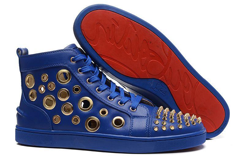Christian Louboutin Blue Sheepskin gold Spike Ventilate Hole High Sneakers