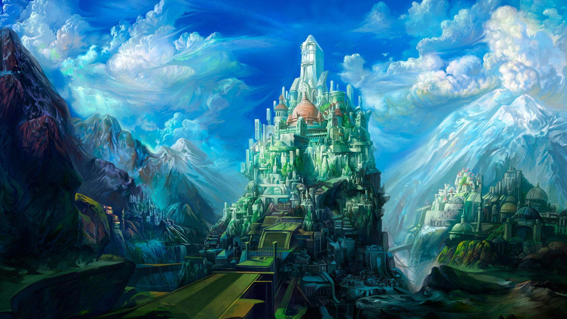 Wonderful 3D Art Castle Fantasy Picture Image Background HD Wallpaper Widescreen