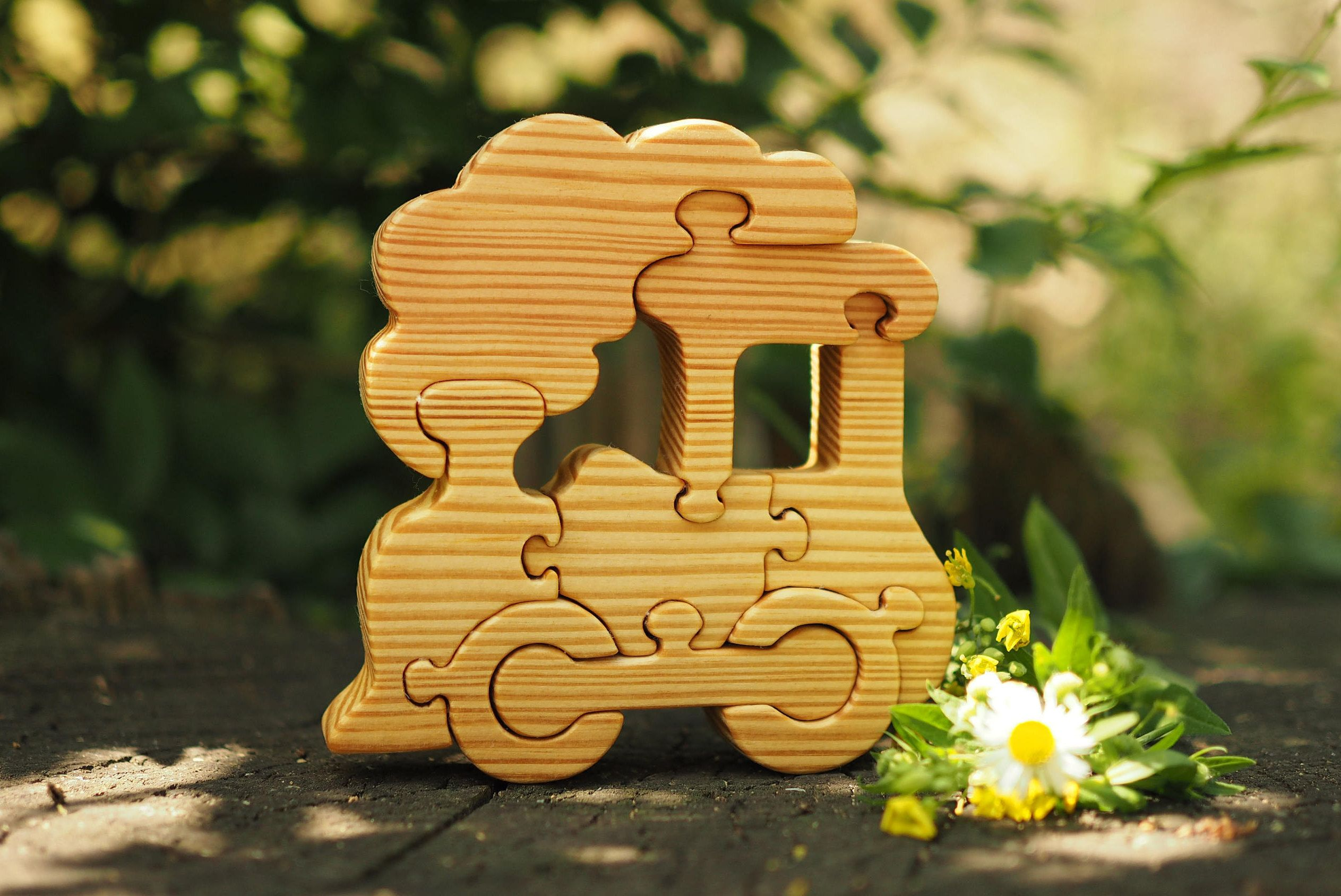Puzzle made of wood, composed of 8 parts. Natural wooden logical ...