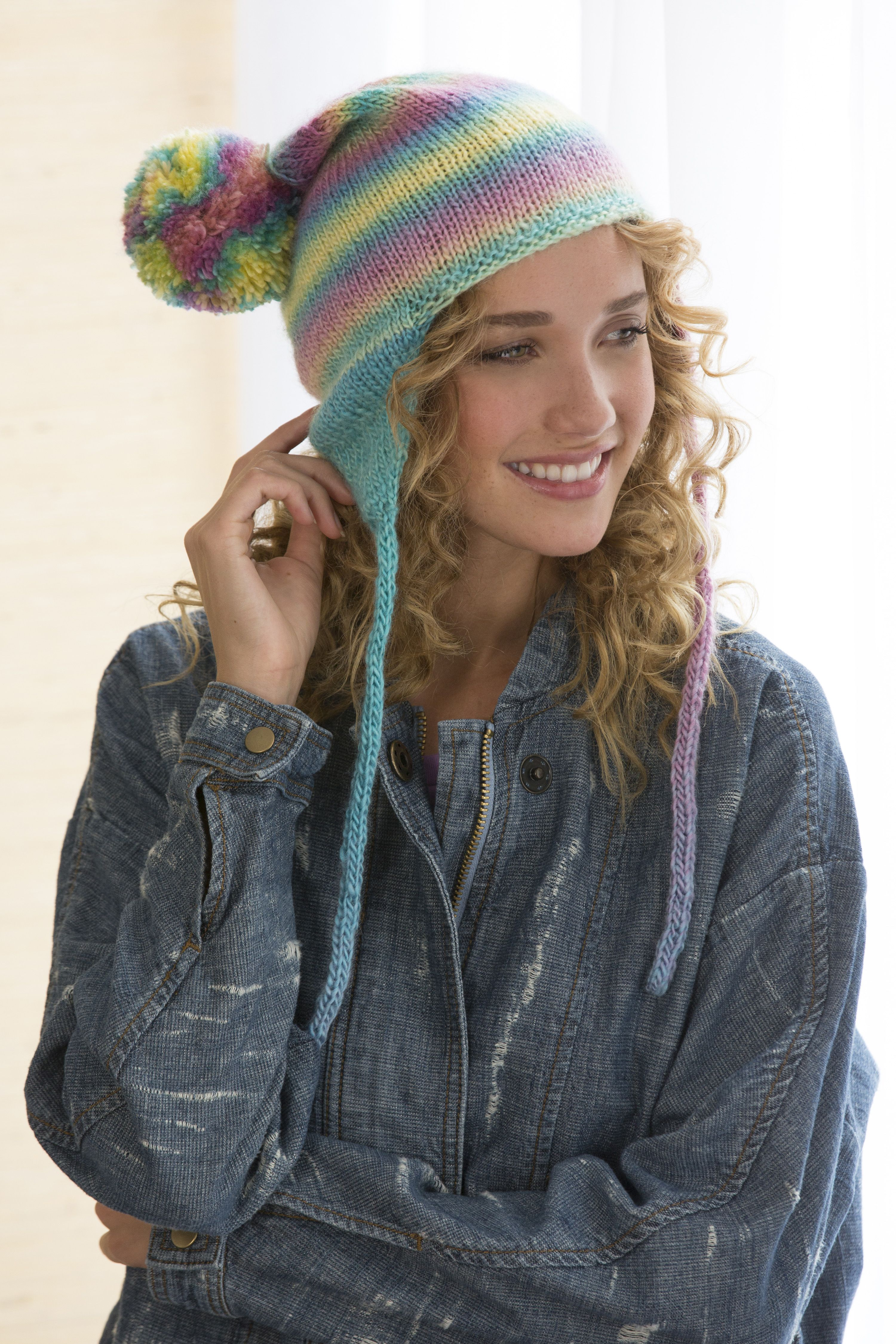 Soft Shades Earflap Hat Free Knitting Pattern in Red Heart Boutique ...