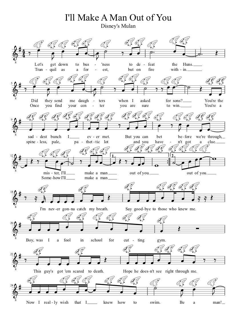 I Ll Make A Man Out Of You Mulan Clarinet Sheet Music Easy
