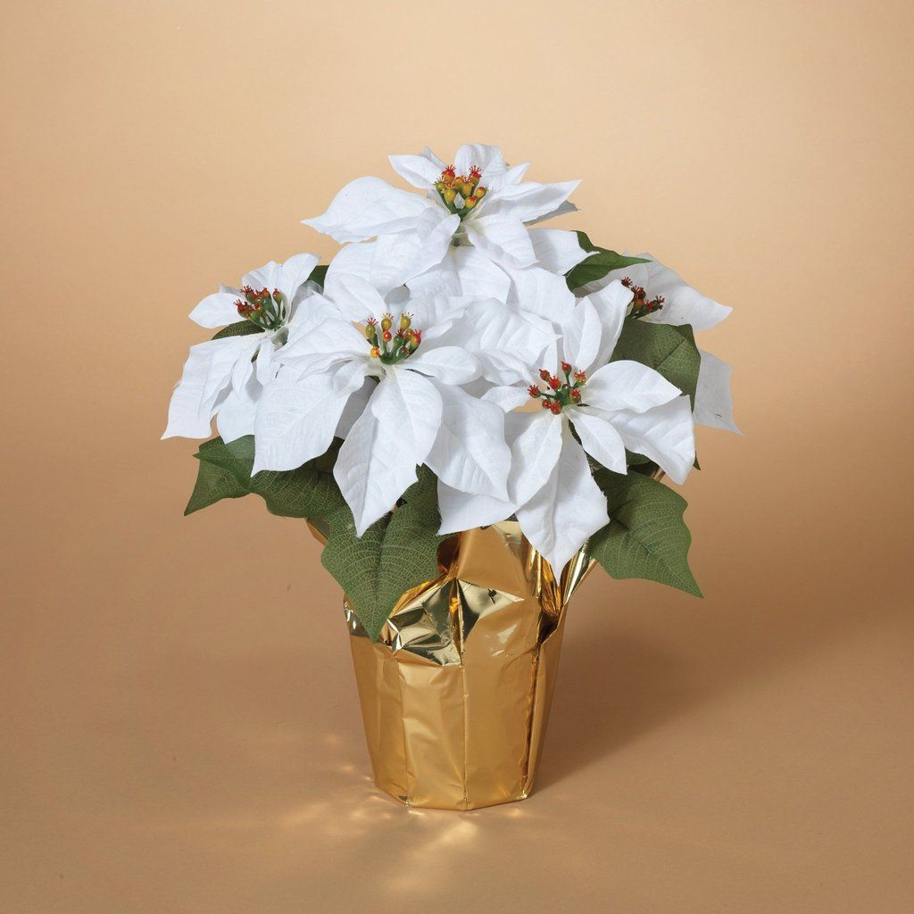 15 Inch Potted White Poinsettia Plant Artificial Christmas Poinsettia Plant In Gold Foil Wrap Christmas Poinsettia Poinsettia Plant White House Christmas Ornament