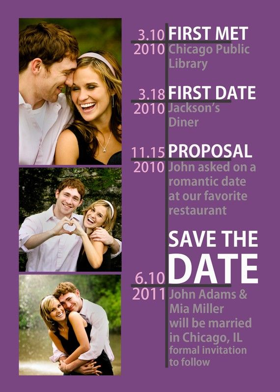 save the date relationship timeline super cute to create in