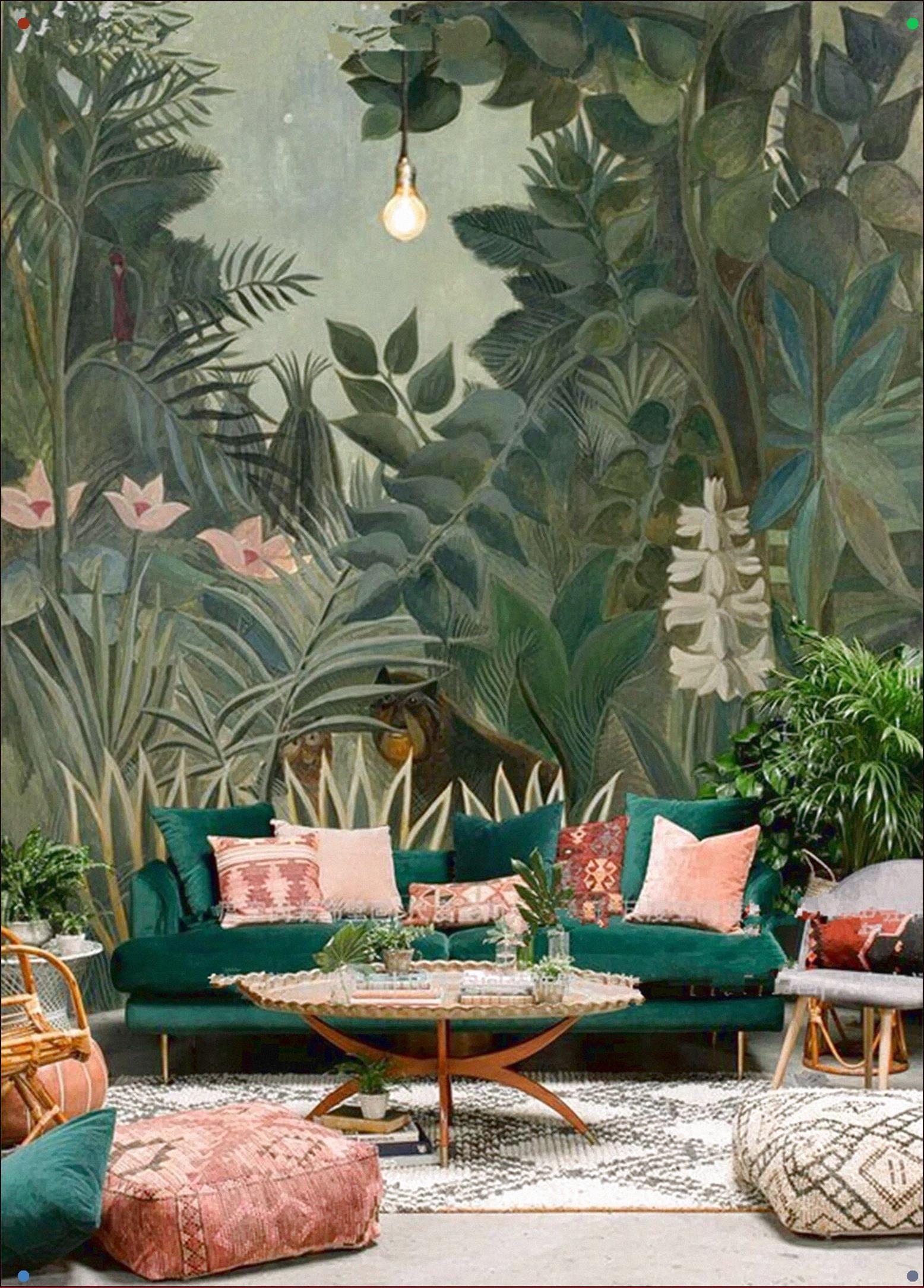 Tree Design Wallpaper Living Room: Oil Painting Jungle Forest Trees Wallpaper Wall Mural Dark