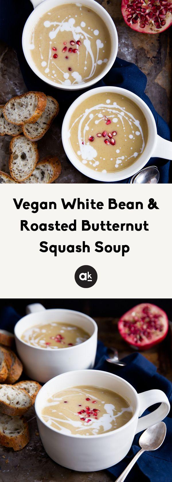 Vegan White Bean + Roasted Butternut Squash Soup #butternutsquashsoup