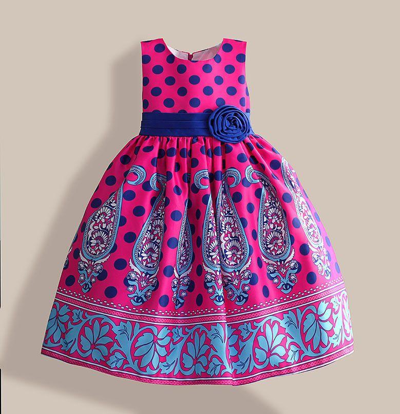 Amazing summer dress Blue Dot Floral Print girl party dress Silk ...