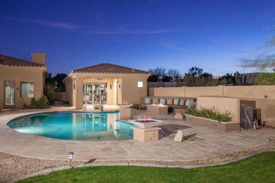 Backyard Pool Private Casita With Home Gym Scottsdale Arizona Az Custom Luxury Ar Waterfront Homes For Sale Guest House Scottsdale Homes For Sale