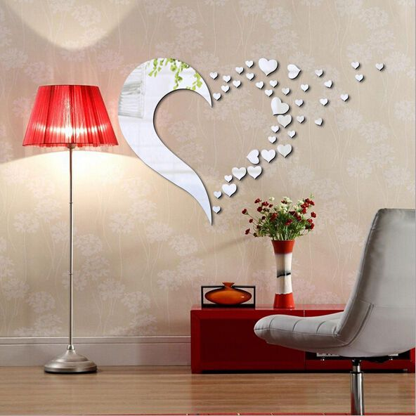 Love Heart Shape Mirror Home 3d Wall Stickers Decor Diy Decal In