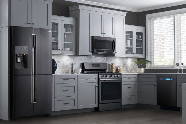 samsung s black slate appliances with gray cabinets new place rh pinterest com