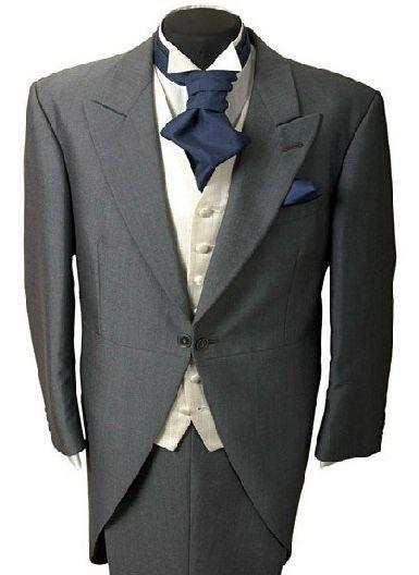 Men S Grey Wedding Suit With Navy Cravat Not Tail Coat