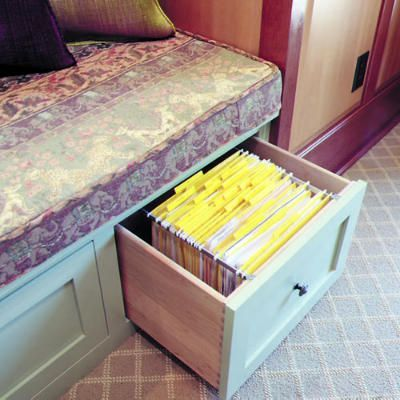 Window Seat With Built In File Storage For Office But