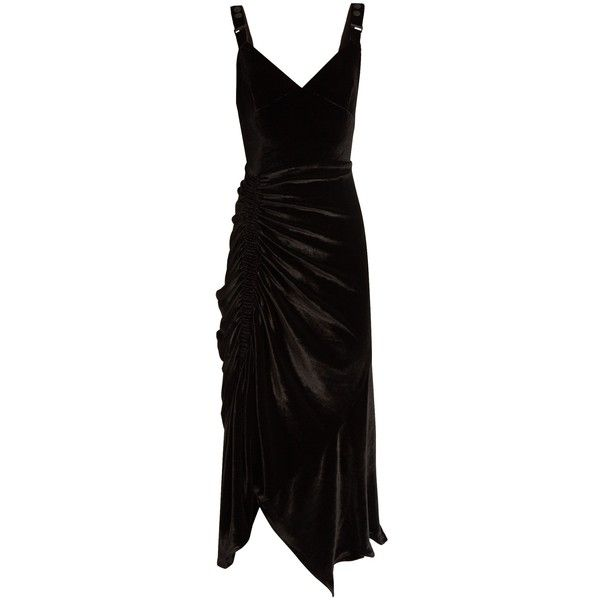 Preen By Thornton Bregazzi Joan ruched stretch-velvet midi dress (17.795 ARS) ❤ liked on Polyvore featuring dresses, cocktail dress, preen, black, gothic dresses, mid calf cocktail dresses, ruched midi dress, ruched cocktail dress and calf length dresses