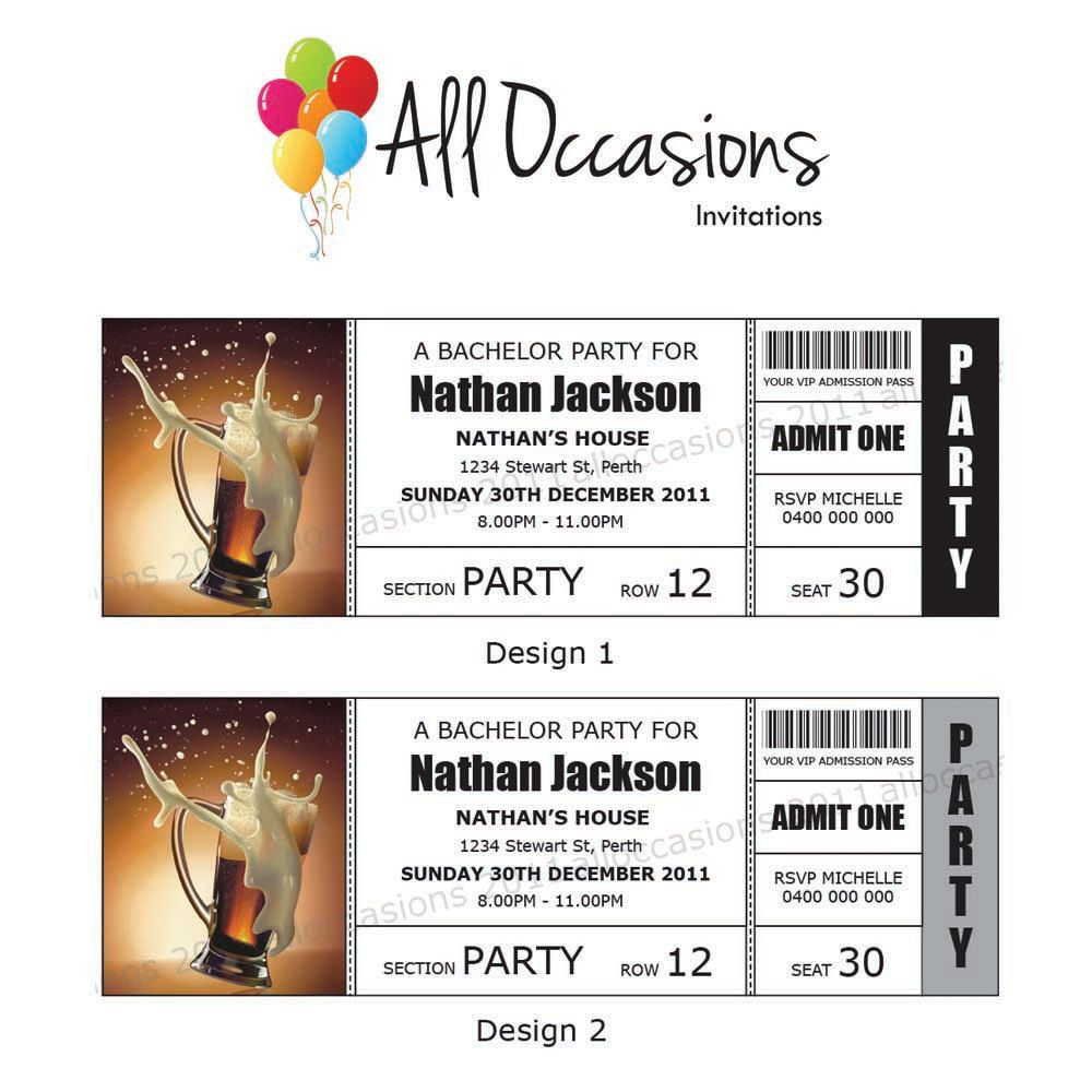 Personalised Custom Bachelor Party Ticket Invitations