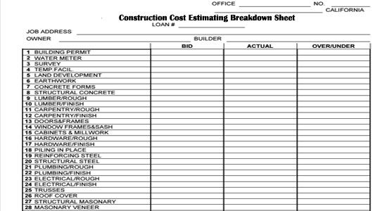 Construction cost estimating breakdown sheet http www for Spec sheet for new home construction