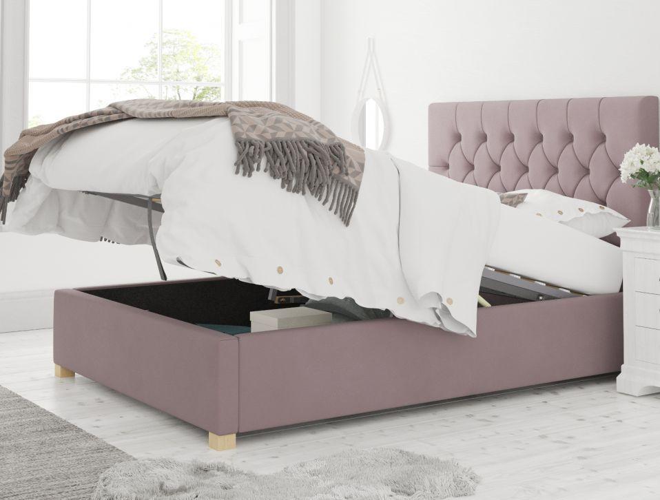York Ottoman Plush Velvet Blush Bed Frame Only In 2020 Steel Bed