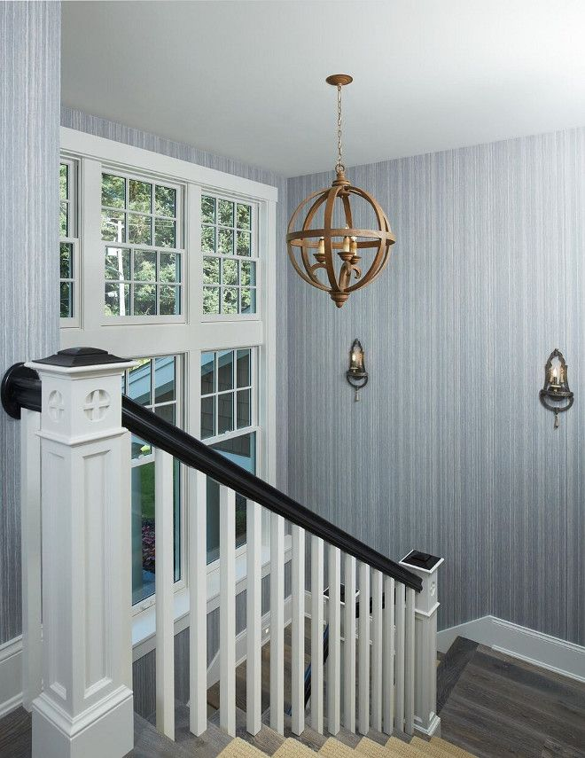 Staircase With Grey Wallpaper Ideas Greywallpaper Benchmark Wood