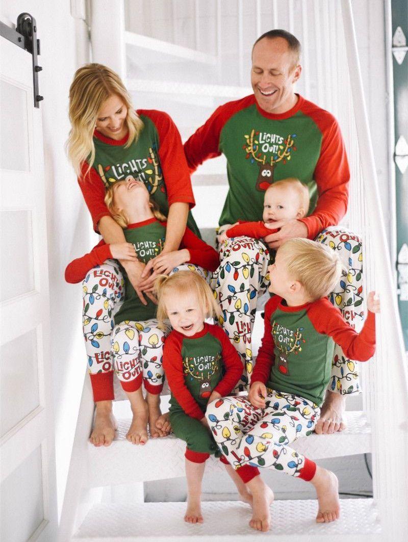 a81d60a54d Moose Fairy Christmas Family Pajamas Set Adult Women Kids Sleepwear  Nightwear