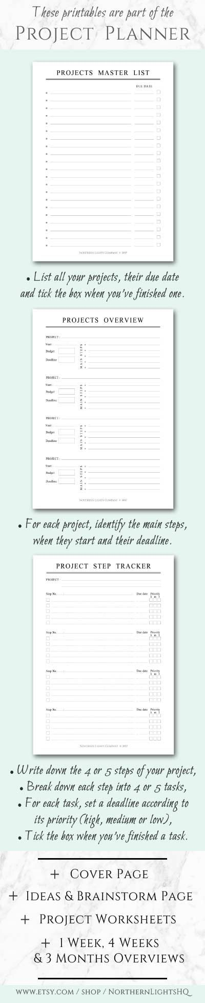 Printable Project Planner, Minimalist Planner A5  Half-Letter