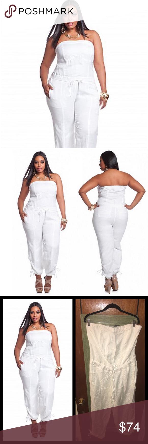 4d84e64ebd591 Ashley Stewart White Linen Jumpsuit White Drawstring Waist Jumpsuit