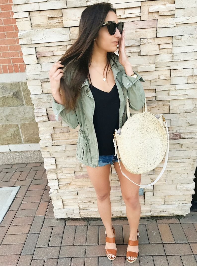 eee2cb8b3bf9 The perfect olive utility jacket at a really good price. This outfit would  be so cute for brunch