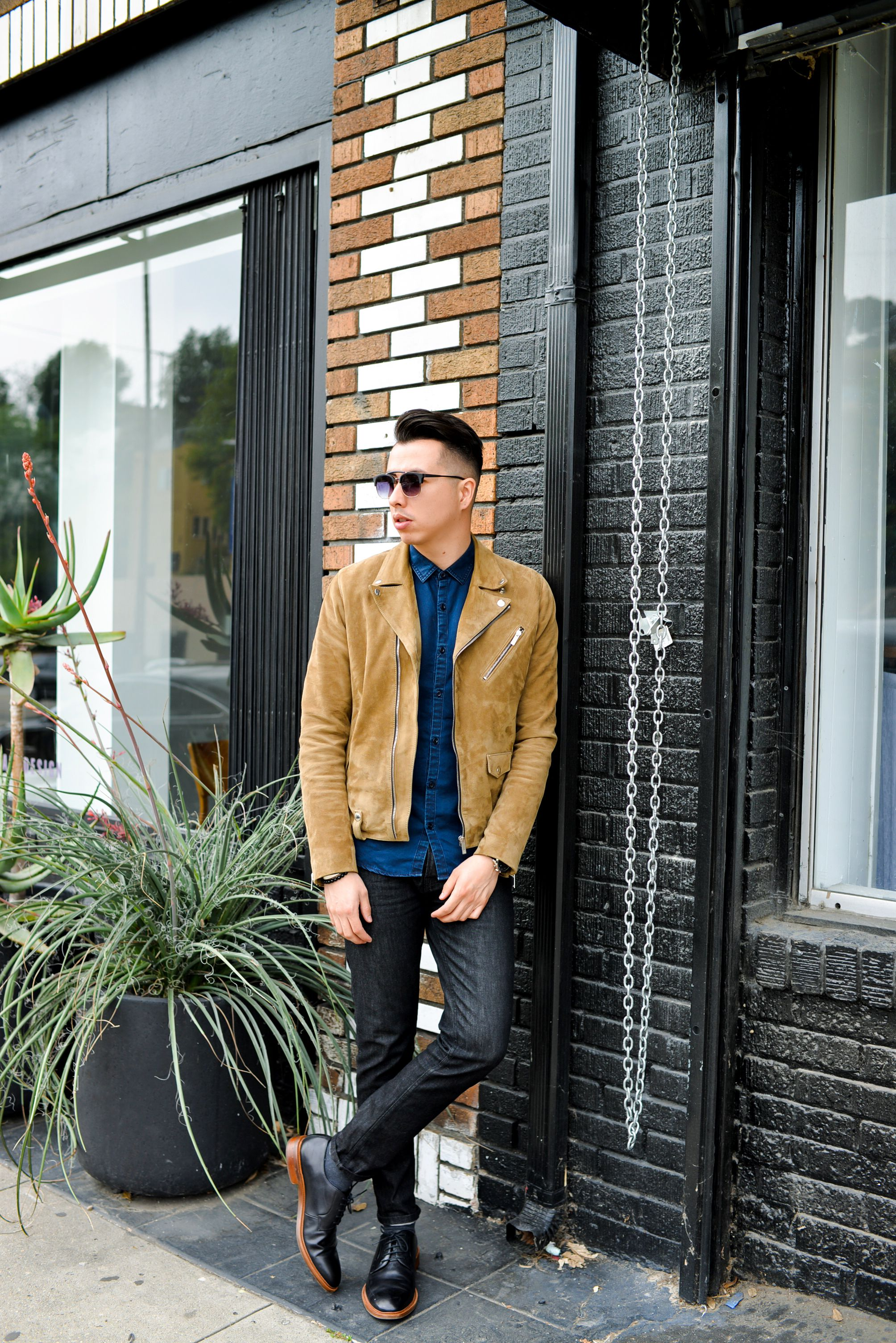 Suede Jacket Dark Chambray Button Up Black Skinny Jeans Black Dress Shoes Mens Fashion Suits Casual Hipster Mens Fashion Mens Fashion Summer Shorts [ 3008 x 2008 Pixel ]