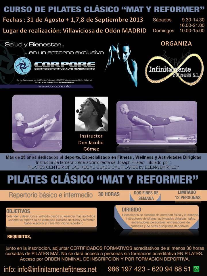 PILATES CLÁSICO MAT Y REFORMER. Del 31 de Agosto al 8 de Septiembre en Madrid http://www.federacioninternacionaldedeportes.es/cursos/mundo-pilates/cursos-seminarios/pilates-clasico-mat-y-reformer