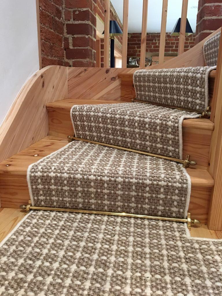 Crucial Trading Sisool Plaid Chalk White Carpet Fitted As Bespoke Stair Runner Carpet In Guildford Surrey Stair Runner Carpet Stairs Carpet Fitting