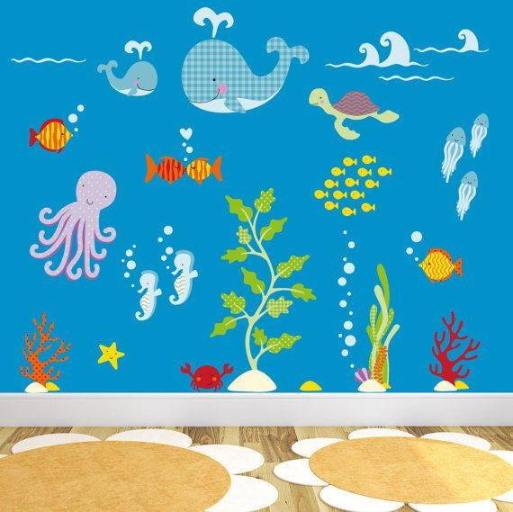 ocean decal, under the sea creatures, sea life wall stickers, gender