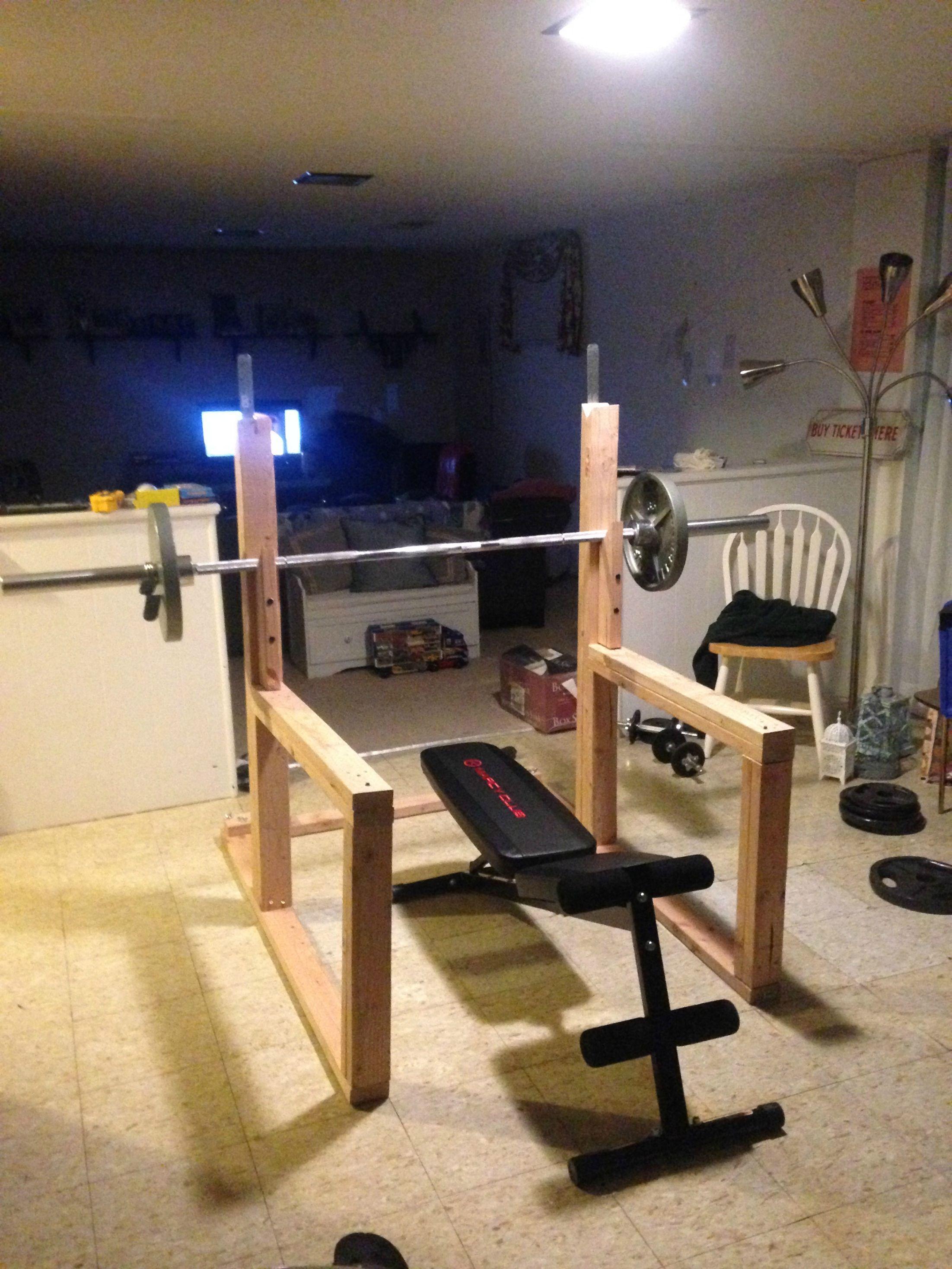 Diy Squat Rack And Bench Press Diy Home Gym Home Made Gym Home