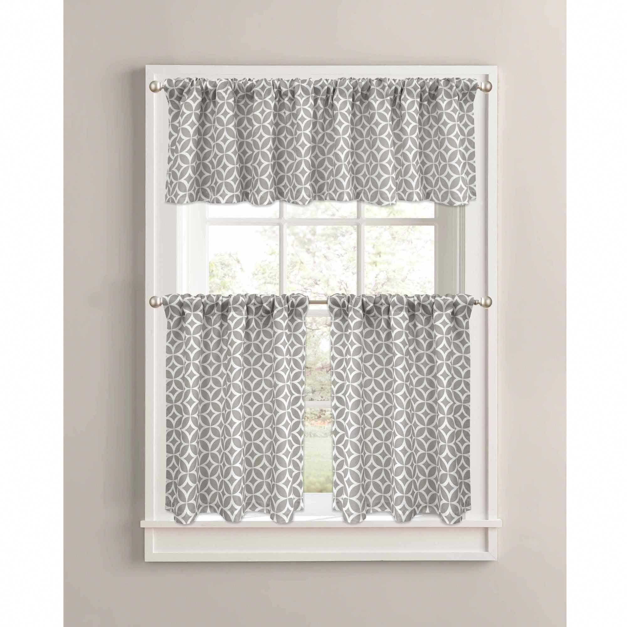 Goodgram Grey Shabby 3 Piece Kitchen Curtain Tier Valance Set