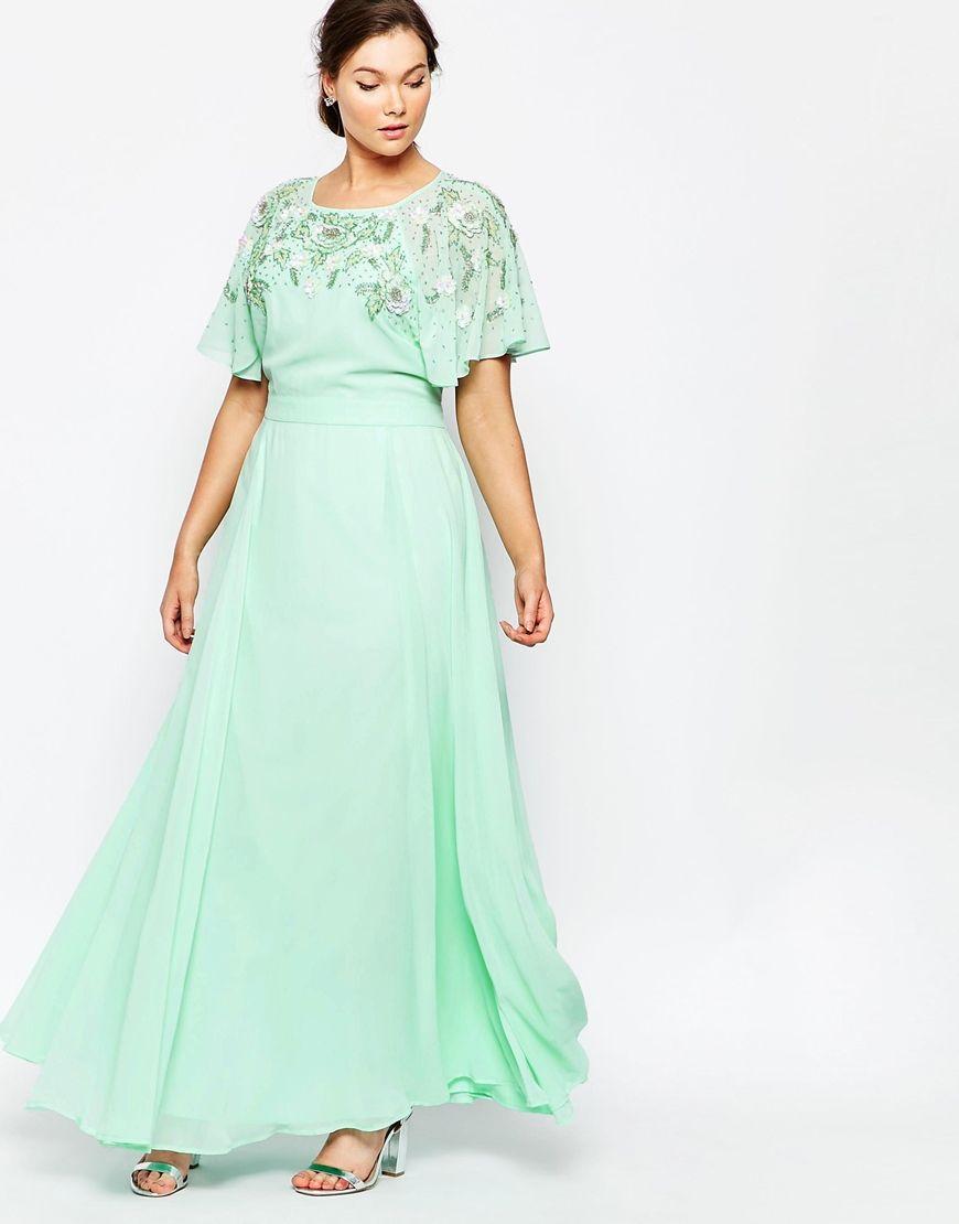 Image 4 of ASOS CURVE Embellished Flutter Sleeve Maxi Dress ...