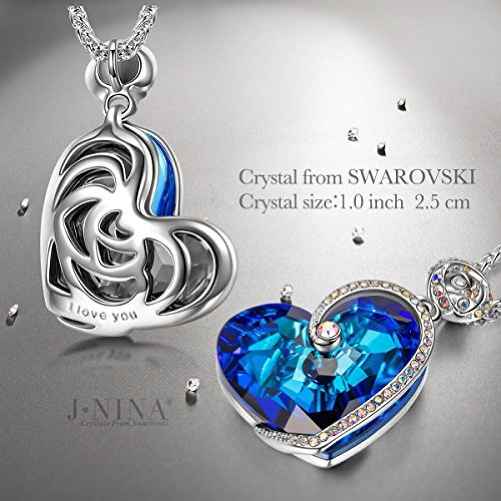 3489f884c Necklace Jewelry Valentines Day Gifts J.NINA Heart of Ocean Series Pendant  Jewelry with Sapphire