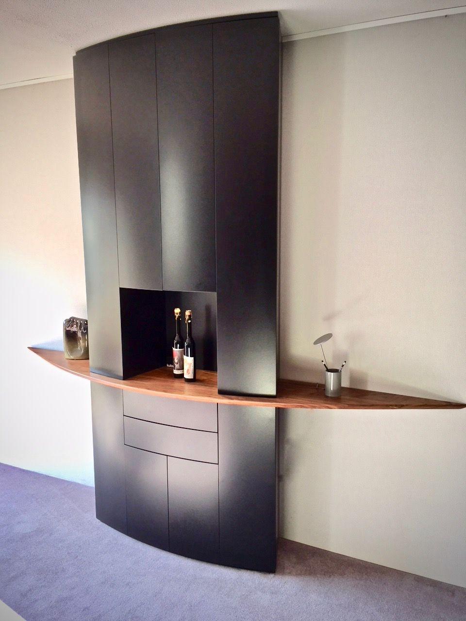 bar en of servieskast van vloer tot plafond met open vak inkl dimbare ledverlichting