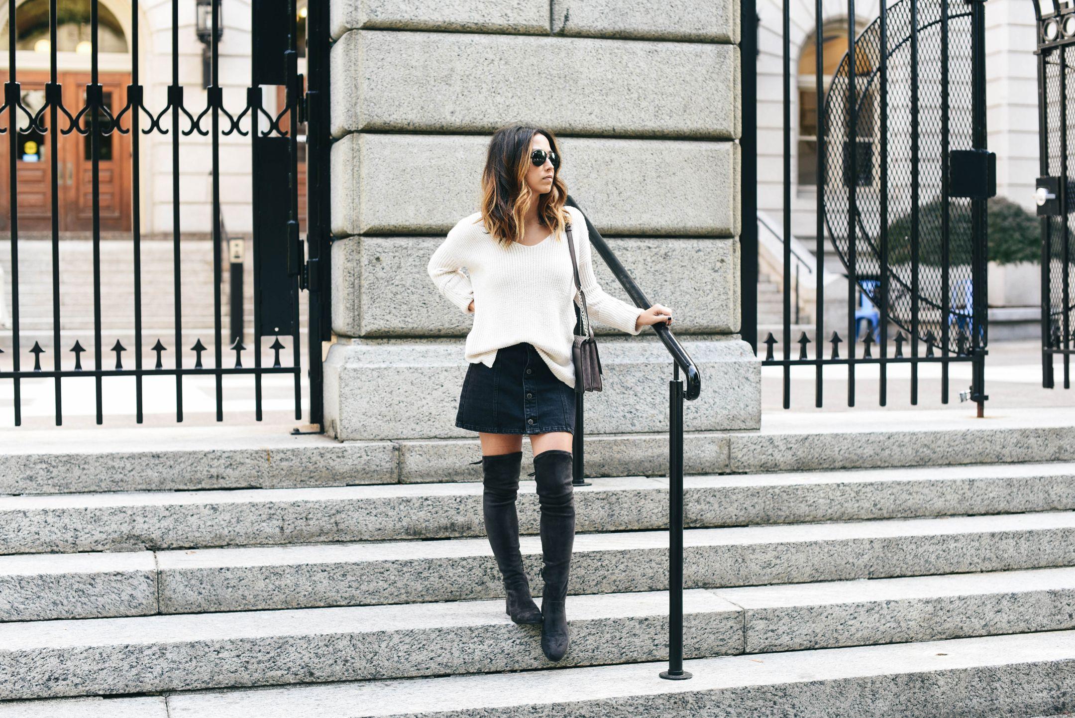 4a106b7b080 Dolce Vita Neely boots + denim skirt + button back sweater cream + grey  taupe bag