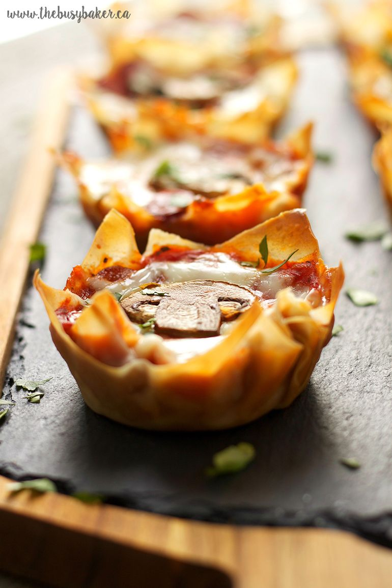 Guest post pepperoni mushroom pizza wonton cups by the