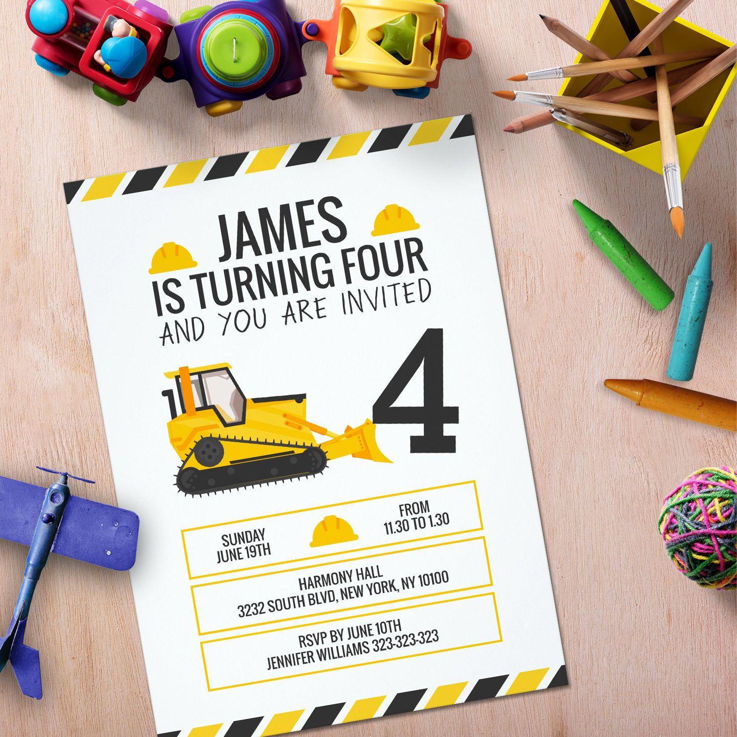 Kids Construction Bulldozer Birthday Party Invitation | Roan\'s Party ...